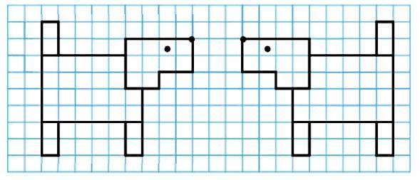 Нарисуй в тетради такую собачку. Нарисуй еще такую же собачку, но так, чтобы она бежала справа налево.Между собачками должно быть 3 клетки.
