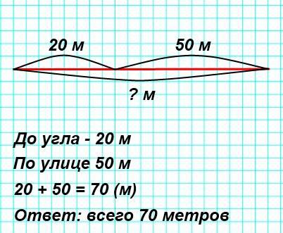 Митя решил измерить дорогу от дома до школы. От дома до угла переулка, в котором он жил, получилось 20 м, а по улице − еще 50 м. Сколько всего метров проходит Митя от дома до школы? Сделай к задаче схематический чертеж и реши ее.
