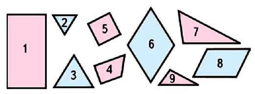 Какие фигуры изображены на чертеже? На какие две группы их можно разбить? Найди разные способы.