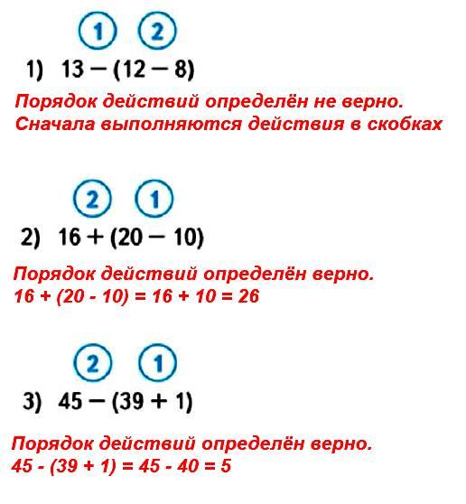 Выполни вычисления в тех случаях, где порядок выполнения действий определён верно.