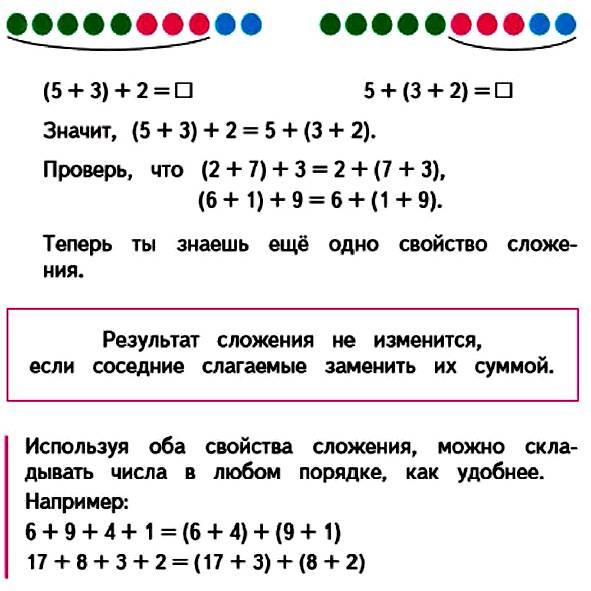 Вычисли сумму трех слагаемых по−разному.