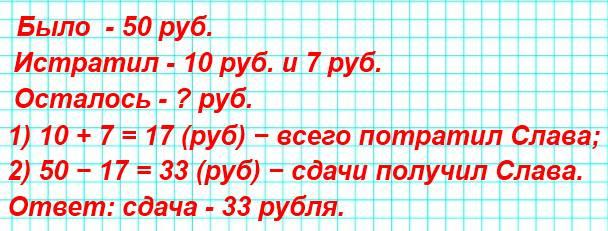 У Слава было 50 р. Он купил буханку хлеба за ☐ р. и пирожок за 7 р. Сколько рублей сдачи он должен получить?