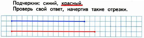 Даша начертила два отрезка: синий и красный. Длина синего отрезка меньше, чем 1 дм, на 3 см, а длина красного отрезка меньше, чем 1 дм, на 2 см. Какой отрезок длиннее?