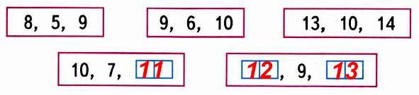 Найди правило, по которому записаны три числа в каждой рамке. Запиши в окошки нужные числа.