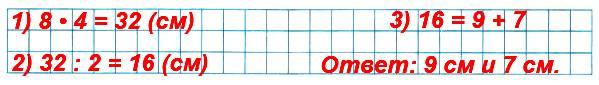 Вычисли периметр квадрата со стороной 8 см. Найди длины сторон прямоугольника с таким же периметром, если они записываются однозначными числами.