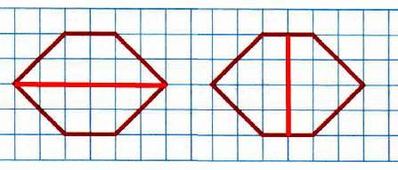 Начерти ещё один шестиугольник, как на чертеже. Проведи в каждом из них по одному отрезку так, чтобы первый шестиугольник был разделён на два четырёхугольника, а второй – на два пятиугольника.