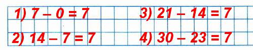 Составь и запиши четыре разности, в каждой из которых уменьшаемое на 7 больше вычитаемого.