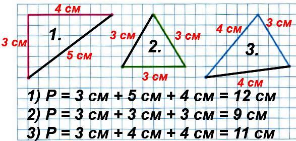 Каждую ломаную дострой до треугольника и вычисли его периметр.