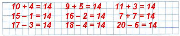 Составь и запиши как можно больше выражений, значение каждого из которых равно 14.