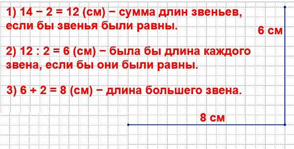 Начерти ломаную из двух звеньев так, чтобы её длина была равна 14 см и одно звено было на 2 см короче другого.