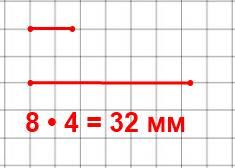 Начерти два отрезка: длина первого 8 мм, а длина второго в 4 раза больше