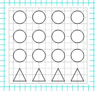 Нарисуй 12 кружков, а треугольников в 3 раза меньше, чем кружков.