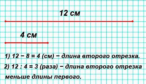 Начерти два отрезка: первый длиной 12 см, а второй на 8 см короче. Во сколько раз длина второго отрезка меньше длины первого?