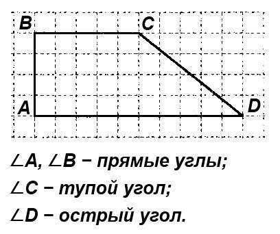 Начерти четырёхугольник, в котором 2 прямых угла, один тупой и один острый угол.