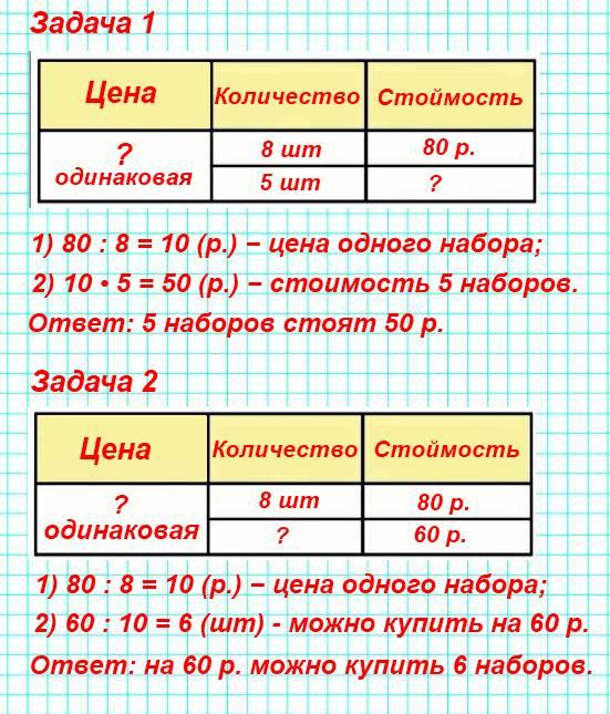 8 одинаковых наборов цветной бумаги стоят 80 р. Сколько стоят 5 таких наборов?