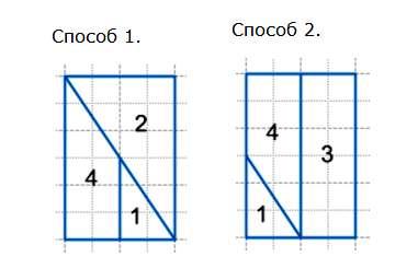 Из каких трех фигур можно сложить прямоугольник? Запиши их номера. Найди два способа.