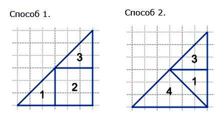 Из каких трех фигур можно сложить треугольник?