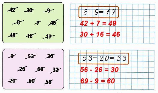 На каждой цветной плашке задано 9 чисел. Подбери тройки чисел так, чтобы из каждой можно было составить верное равенство.