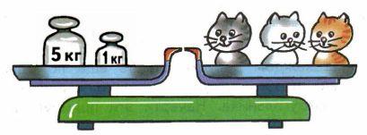Какие гири должны быть на весах, если все котята имеют одинаковую массу? Нарисуй эти гири.