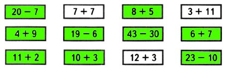 Закрась карточки, на которых записаны выражения, значения которых равны 13.