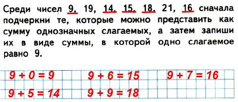 Среди чисел 9, 19, 14, 15, 18, 21, 16 сначала подчеркни те, которые можно представить как сумму однозначных слагаемых, а затем запиши их в виде суммы, в которой одно слагаемое равно 9.