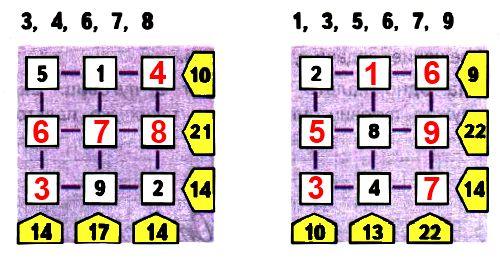 Поставь в окошки заданные числа так, чтобы сумма чисел в каждом ряду была равна числу справа, а сумма чисел каждого столбца — числу, записанному внизу.