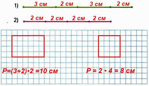 Начерти 2 прямоугольника, периметры которых заданы такими отрезками: