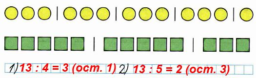 Составь по каждому рисунку пример на деление с остатком и запиши его.