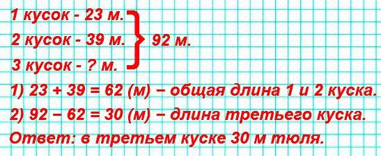В мастерской было 3 куска тюля − всего 92 м. Длина первого куска 23 м, а второго − 39 м. Сколько метров тюля в третьем куске?