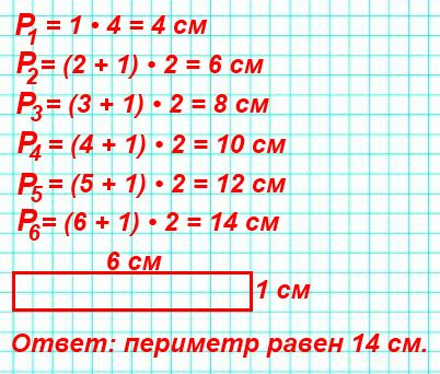 Узнай и запиши по порядку, чему равен периметр первого, второго, третьего и четвёртого прямоугольников. По полученной записи догадайся, каким будет периметр пятого прямоугольника. Проверь себя измерениями. Начерти в тетради шестой прямоугольник и найди его периметр.