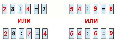Переставляя карточки с цифрами, сделай равенства верными.
