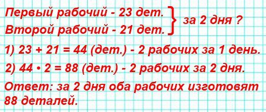 Один рабочий изготовил за день 23 детали, а другой - 21 деталь. Сколько деталей изготовят оба рабочих за 2 дня?