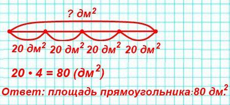 Чему равна площадь прямоугольника, если четвёртая часть её равна 20 дм2?
