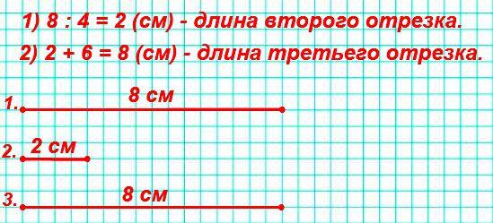 Начерти три отрезка: длина первого отрезка 8 см, длина второго составляет одну четвёртую длины первого, а длина третьего на 6 см больше длины второго.