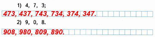 Запиши все возможные трёхзначные числа, используя каждую из данных цифр в записи числа только один раз.