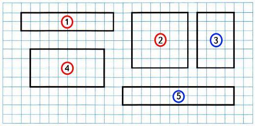 Номера всех прямоугольников с равными периметрами обведи красным цветом, а с равными площадями - синим.