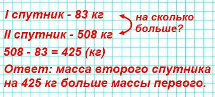 Масса первого советского искусственного спутника Земли 83 кг, а масса второго спутника Земли 508 кг. На сколько килограммов масса второго спутника больше массы первого