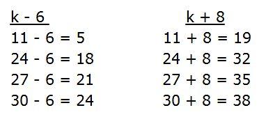 Найди значения выражений k - 6 и k + 8 при k = 11, k = 24, k = 27, k = 30.