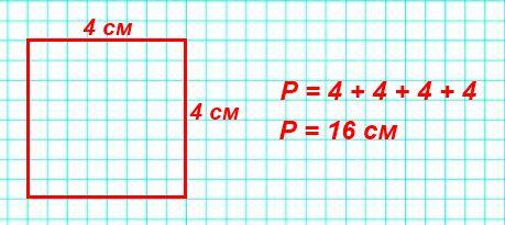 Начерти в тетради квадрат, длина стороны которого 4 см. 2) Найди периметр этого квадрата.