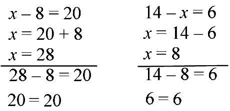 Реши уравнения: х - 8 = 20, 14 - х = 6.