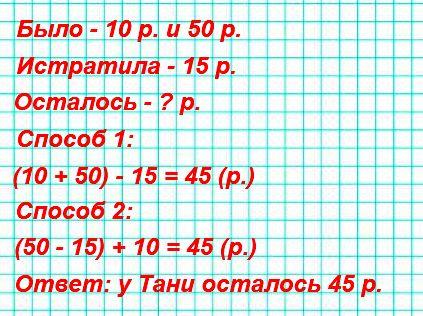 Таня сделала покупку на 15 р. У неё было 10 р. и 50 р. Сколько рублей у неё осталось? Реши задачу разными способами.