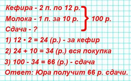 Сколько рублей сдачи должен получить Юра со 100 р., если он купил 2 пакета кефира по 12 р. и 1 пакет молока за 10 р.?