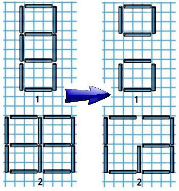 В каждой фигуре убери2палочки так, чтобы осталось2квадрата