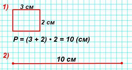 Начерти прямоугольник, длины сторон которого2см и3см. 2)Начерти отрезок, длина которого равна периметру этого прямоугольника.