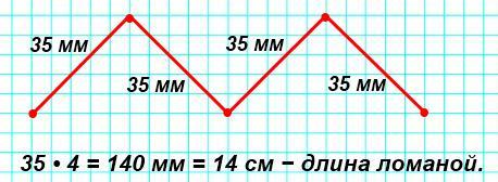 Начерти ломаную линию, состоящую из4равных по длине звеньев. Найди её длину