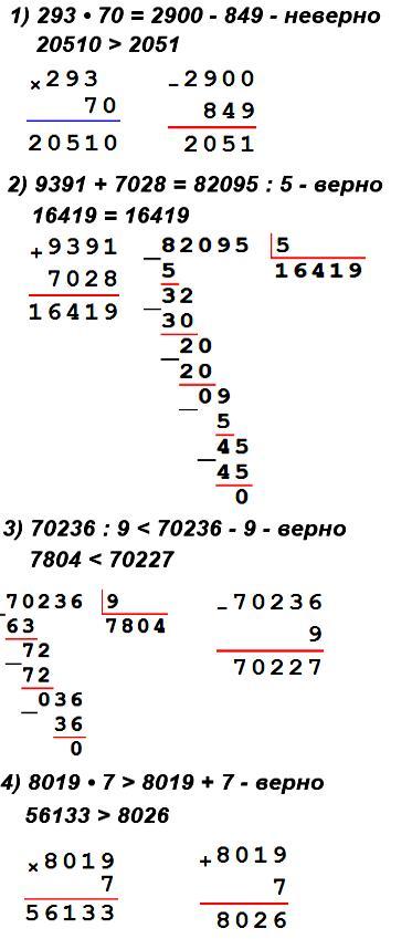 Запиши равенства и неравенства, проверь, верны ли они.  1) Произведение чисел 293 и 70 равно разности чисел 2900 и 849.