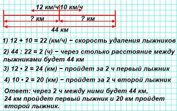 133. Два лыжника вышли из поселка одновременно в противоположных направлениях. Один из них шел со скоростью 12 км/ч, а другой − 10 км/ч. Через сколько часов расстояние между ними будет 44 км? Какое расстояние пройдет за это время каждый лыжник?