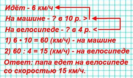 Папа сказал, что он идёт со скоростью 6 км/ч, на машине едет в 10 раз быстрее, а на велосипеде– в 4 раза медленнее, чем на машине. С какой скоростью папа едет на велосипеде