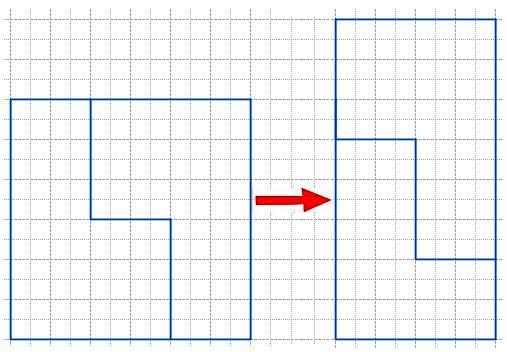 Квадрат с длиной стороны 6 см разрезали на 2 части по ломаной из трех звеньев, а затем из полученных частей составили прямоугольник. Начерти такой квадрат на клетчатой бумаге и покажи, как надо его разрезать