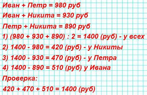 У Ивана и Петра вместе 980 р., у Ивана и Никиты вместе 930 р., а у Петра и Никиты вместе 890 р. Сколько денег у каждого из них